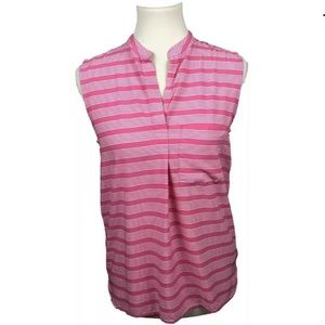 GAP Striped Sleeveless Pink Blouse Top Shell Small